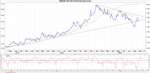 Graph 2: ZAR/US$ with 200 & 50 day Moving Average (source: I-net)